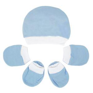 Kit Touca, Luvas e Sapatinho Fofinho Meia Malha Azul Bebê