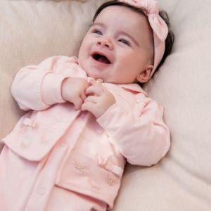 Saída de Maternidade Paraiso Conforto com Tule Rosa Claro