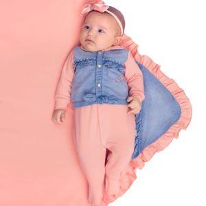 Saída de Maternidade Paraiso Tecido Conforto Jeans Pêssego