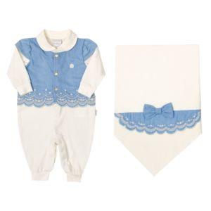 Saída de Maternidade Paraiso Tecido Conforto Bordado Jeans