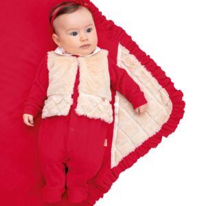 Saída Maternidade Paraiso Plush com Pala de Pelo Vermelho