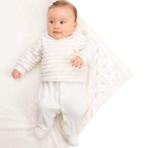 Saída Maternidade Paraiso Plush com Pelo Off White