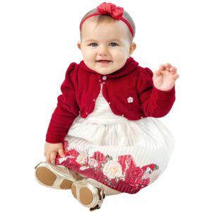 Vestido Infantil Paraiso Fitado com Bolero de Plush Vermelho