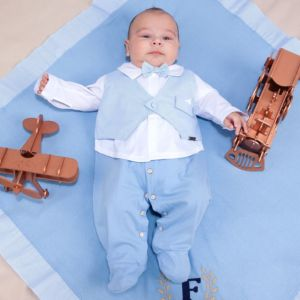 Saída de Maternidade Fofinho Social Gravata Azul Claro Conjunto
