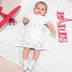 Saída de Maternidade Fofinho Vestido e Manta Tricô Branco Conjunto