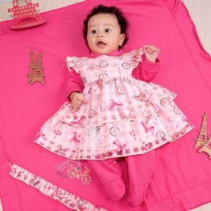 Saída de Maternidade Fofinho Malha com Vestido Paris Rosa Conjunto