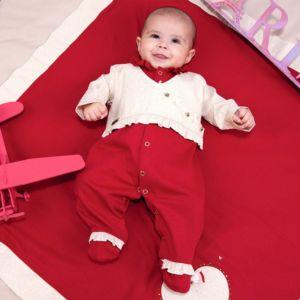 Saída de Maternidade Fofinho Malha Coração Heloísa Vermelho Conjunto