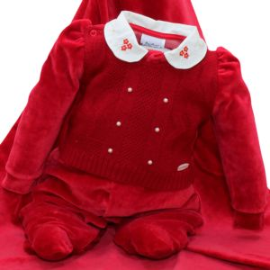 Saída Maternidade Sonho Mágico Delicada Tricô Plush Vermelho