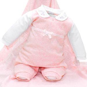 Saída Maternidade Sonho Mágico Ternura Malha Branco Rosa