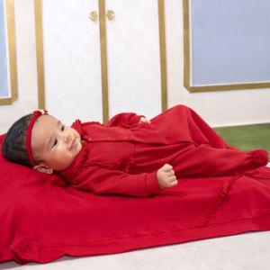 Saída de Maternidade Sonho Mágico Lacy Malha Vermelho