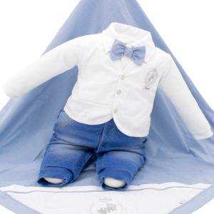 Saída de Maternidade Paraiso Denim e Tecido Trabalhado Azul