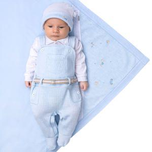 Saída de Maternidade Paraiso Malhas Tricô e Fio 30 Azul