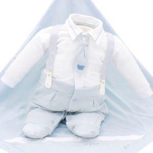 Saída de Maternidade Paraiso Conforto com Gravata Azul Claro
