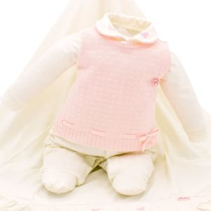 Saída de Maternidade Paraiso Malha Fio 30 Bordado Off White