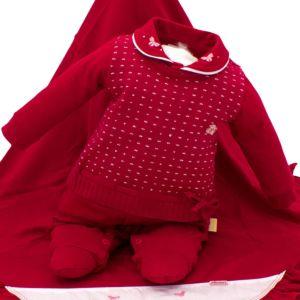 Saída de Maternidade Paraiso Malha Fio 30 Bordado Vermelho