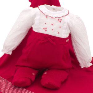 Saída de Maternidade Paraiso Tricô e Tecido Vermelho