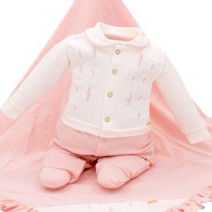 Saída de Maternidade Paraiso Malha Conforto Rosa Pastel