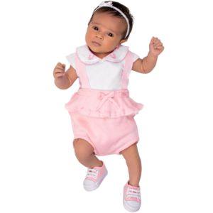 Conjunto Baby Paraiso Body Shorts e Suspensório Rosa Pastel