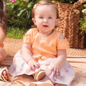 Vestido Baby Paraiso Sarja Leve e Saia em Organza Laranja