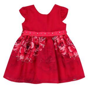 Vestido Baby Paraiso Chiffon Estampado com Forro Vermelho