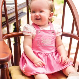 Vestido Baby Paraiso Sarja Color com Bordado Rosa Iogurte