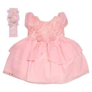 Vestido para Festa Rose Quartz com Tiara Luxo Sonho Mágico