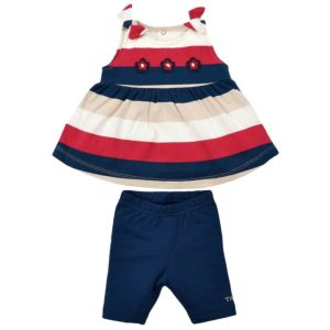 Conjunto Bebê Tilly Baby Bata e Bermuda Marinho Vermelho