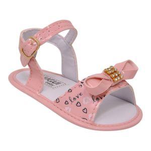 Sandália para Bebê Menina Rosa Verniz com Laço Lugui