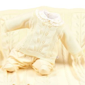 Saída De Maternidade Beth Bebê Feminina Alícia Tricô Amarelo
