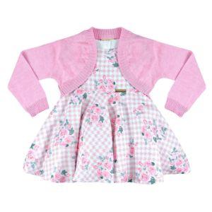 Vestido Infantil Essência Viva com Bolero Roseiras Rosa