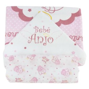 Kit Banho 2 Peças Rosa Bebê Anjo Minasrey