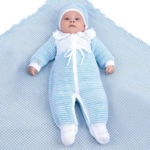 Saída de Maternidade Ternura Masculina Tricô Azul Bebê