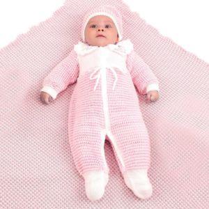 Saída de Maternidade Ternura Feminina Tricô Rosa Bebê