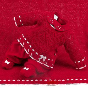Saída de Maternidade Beth Bebê Suedine Vitória Luxo Vermelho