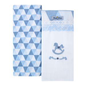 Kit 2 Cueiros Minasrey Muito Mimo 100% Algodão Azul