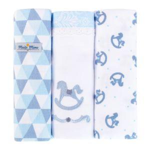 Kit 3 Cueiros Minasrey Muito Mimo Rolinhos 100% Algodão Azul