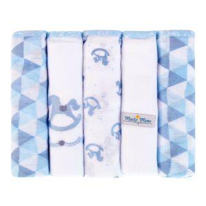 Kit 5 Fraldas com Bainha Minasrey Muito Mimo Azul