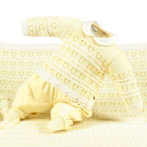 Saída de Maternidade Beth Bebê Luxo Tricô Maria Amarelo