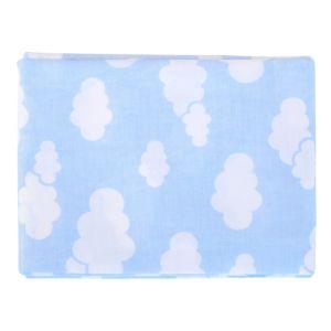 Lençol com Elástico Minasrey Alvinha Nuvens 100%Algodão Azul