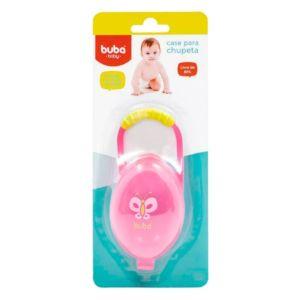 Porta Chupetas Buba Toys com Alça para Encaixe Rosa Embalagem