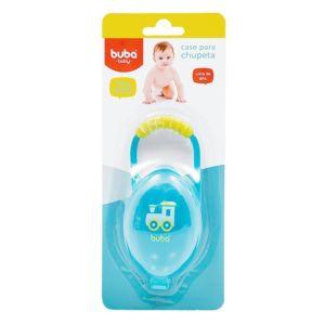 Porta Chupetas Buba Toys com Alça para Encaixe Azul Embalagem