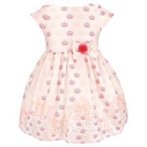 Vestido para Festa Princesa Rosa Coroas Nina Beth Bebê