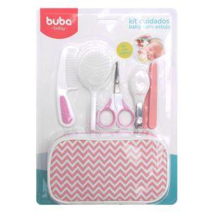 Kit Higiene Buba Cuidados para Bebê com Estojo Branco Rosa