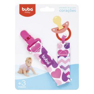 Prendedor de Chupeta Buba Toys com Clipe Corações Azul