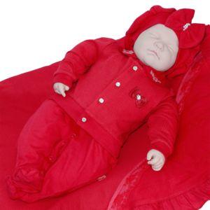 Saída de Maternidade Paraiso Feminina Malha Luxo Vermelho
