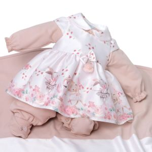 Saída de Maternidade Beth Bebê Lara com Vestido Luxo Nude