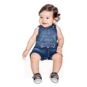 Macacão Jardineira Paraiso Menino Moletom Denim Azul Jeans Modelo