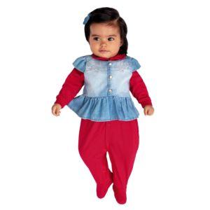 Macacão Longo Paraiso Menina com Colete Jeans Vermelho Modelo