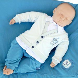 Saída de Maternidade Paraiso com Malha Fio 30 Azul Celeste Modelo