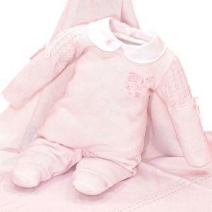 Saída de Maternidade Fofinho Luana Tricô Luxo Rosa Claro